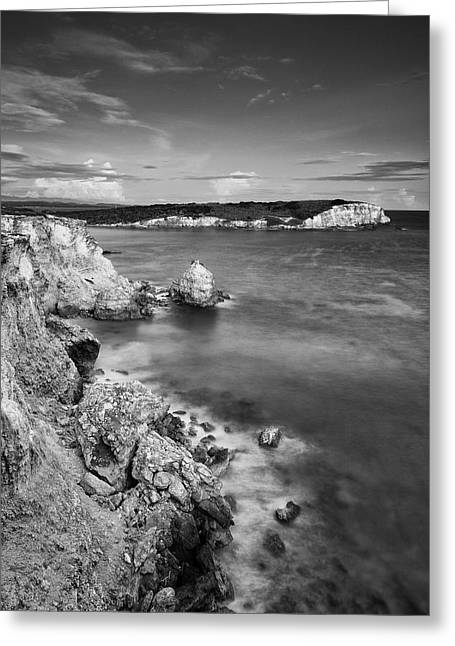 Greeting Card featuring the photograph The Cliffs Of Puerto Rico At Dusk by Photography  By Sai
