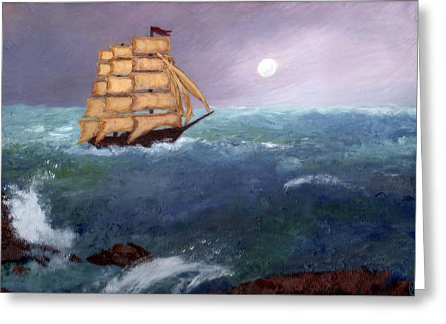 Greeting Card featuring the painting The Clipper by J Cheyenne Howell