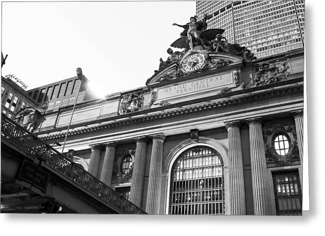 The Clock Of Grand Central Station In New York City Greeting Card by Ellie Teramoto