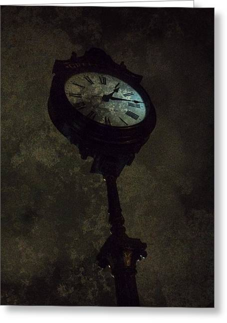 The Clock Of Greenpoint Greeting Card by Natasha Marco