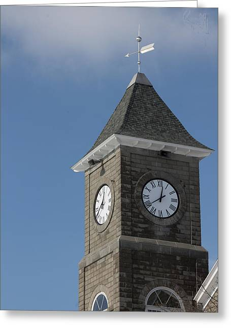 The Clock Tower Greeting Card by Rhonda Humphreys