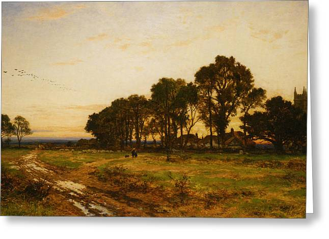 The Close Of Day Worvestershire Meadows Greeting Card by Benjamin Williams Leader