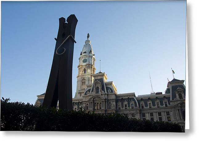 The Clothes Pin Statue And City Hall - Philadelphia Greeting Card by Bill Cannon