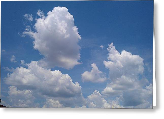 The Cloud Moustachioed Man And His Puppy Greeting Card by Abhilasha Borse
