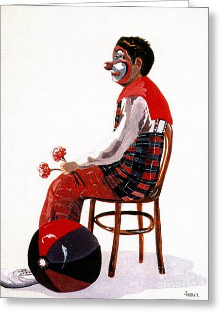 Greeting Card featuring the painting The Clown, Intermission by Joyce Gebauer