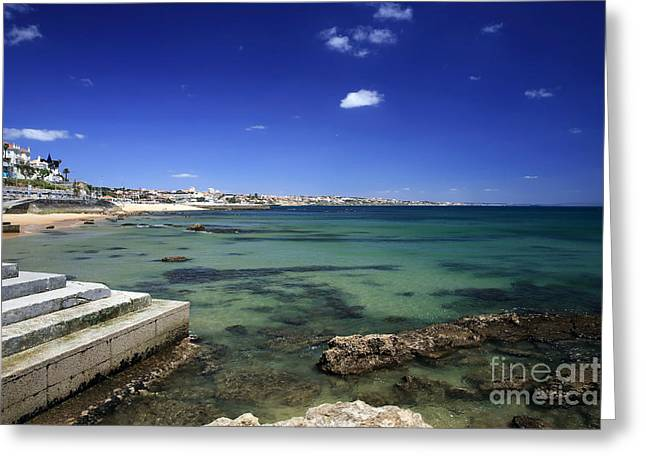 The Coast Of Estoril Greeting Card by John Rizzuto