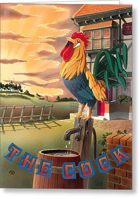 The Cock Greeting Card by Peter Green