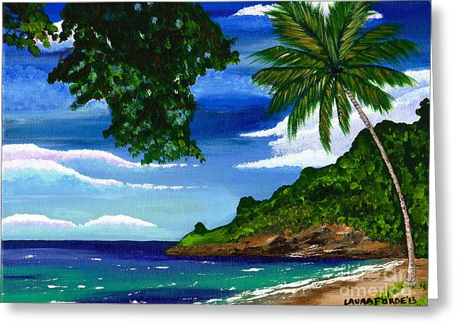 Greeting Card featuring the painting The Coconut Tree by Laura Forde
