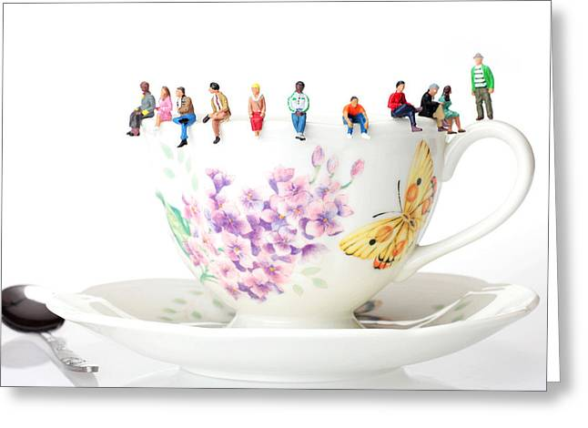 The Coffee Time Little People On Food Greeting Card by Paul Ge