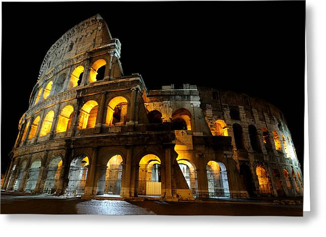 The Colosseum At Night Greeting Card by Jeremy Voisey