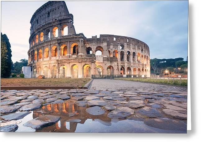 The Colosseum At Sunrise Rome Italy Greeting Card