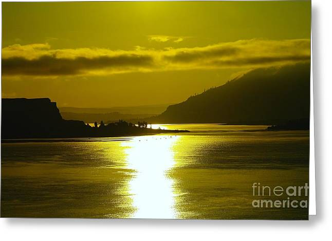 The Columbia River In The Morn   Greeting Card