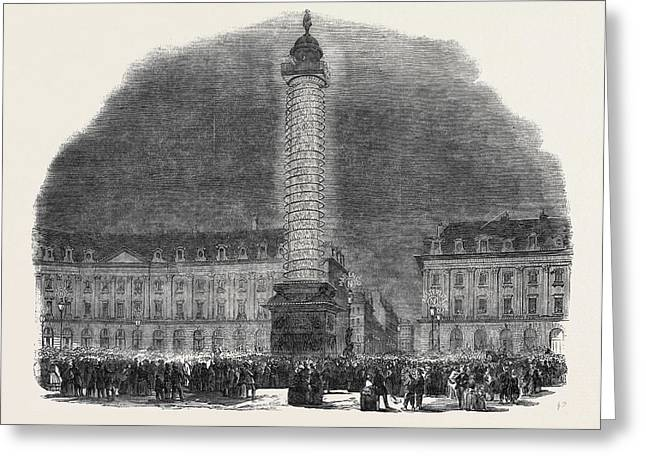The Column In The Place Vendome, Illuminated Greeting Card
