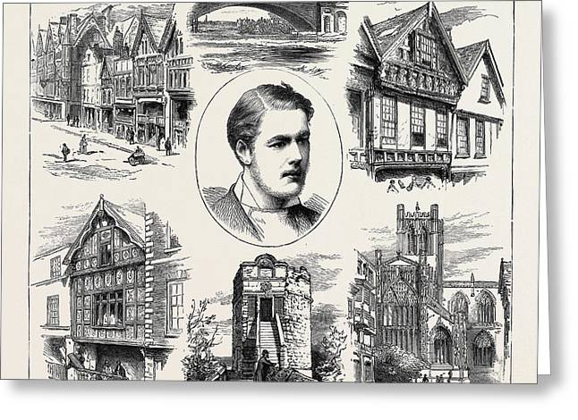 The Coming Of Age Of Earl Grosvenor, Views In Chester Greeting Card by English School