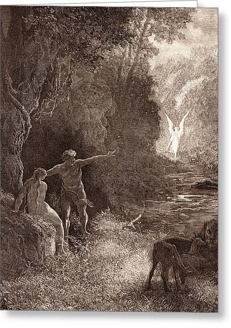 The Coming Of Raphael, By Gustave DorÉ. Dore Greeting Card