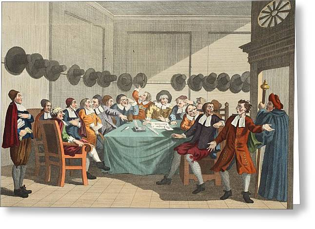 The Committee, From Hudibras By Samuel Greeting Card by William Hogarth