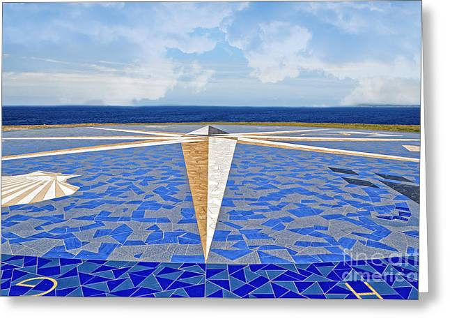 The Compass Rose La Coruna Greeting Card by Mary Machare