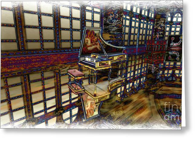 Greeting Card featuring the digital art The Concertroom by Susanne Baumann