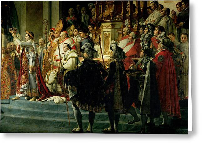 The Consecration Of The Emperor Napoleon 1769-1821 And The Coronation Of The Empress Josephine Greeting Card by Jacques Louis David