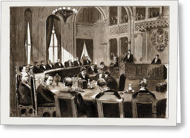 The Constitutional Crisis In Norway, 1883 View Of The Court Greeting Card by Litz Collection