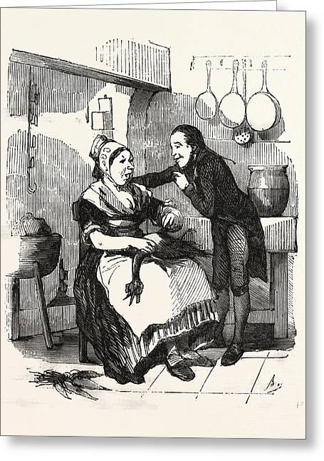 The Cook And Her Admirer In The Kitchen, Cleaning A Goose Greeting Card by French School
