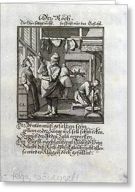 The Cook, Old Master Print, 17th Century Greeting Card