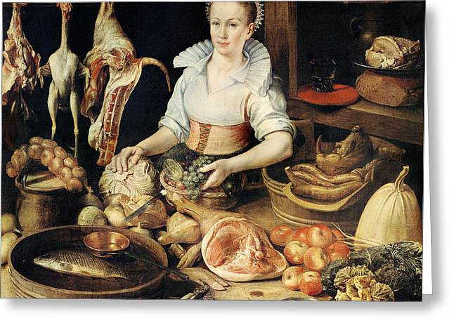 The Cook Greeting Card by Pieter Cornelisz van Rijck
