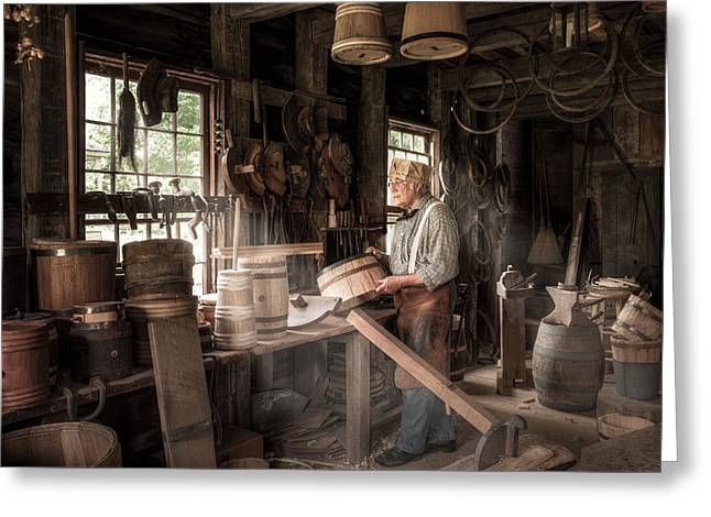 Greeting Card featuring the photograph The Cooper - 19th Century Artisan In His Workshop  by Gary Heller