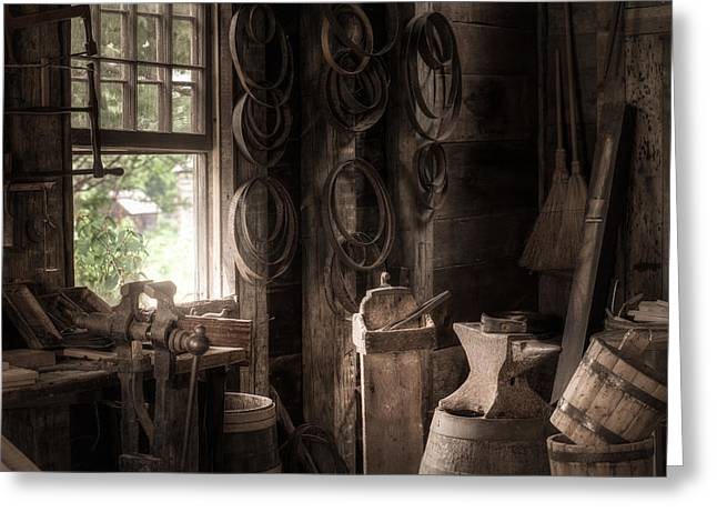 Greeting Card featuring the photograph The Coopers Window - A Glimpse Into The Artisans Workshop by Gary Heller