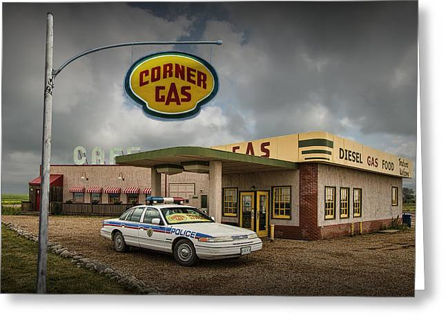 The Corner Gas Station From The Canadian Tv Sitcom Greeting Card