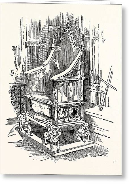 The Coronation Chair And Stone Of Destiny Westminster Abbey Greeting Card by English School