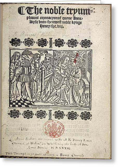 The Coronation Of Anne Boleyn Greeting Card