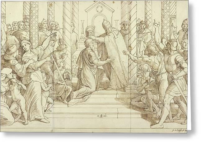 The Coronation Of Charlemagne Julius Schnorr Von Carolsfeld Greeting Card by Litz Collection