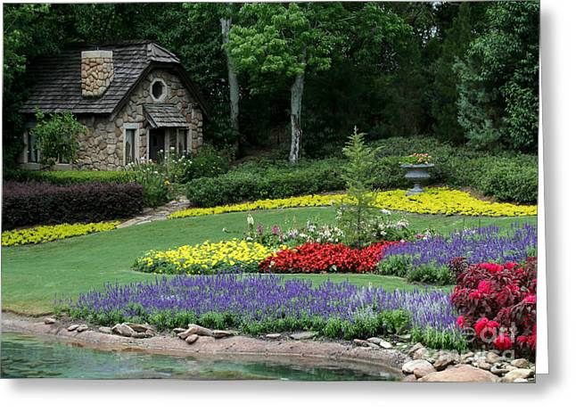 The Cottage And The Garden By The Pond Greeting Card by Sabrina L Ryan