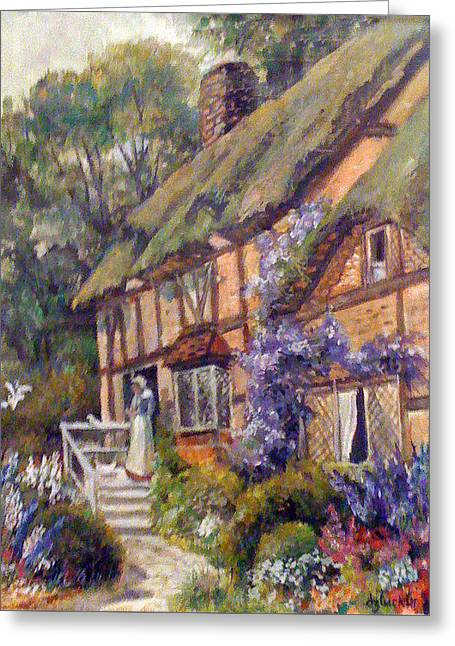 The Cottage Greeting Card by Donna Tucker