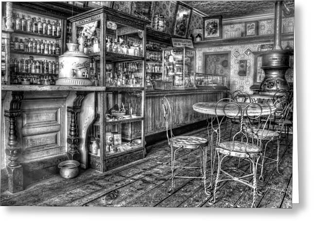 The Counter Black And White Greeting Card