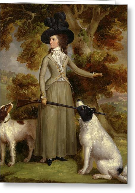 The Countess Of Effingham With Gun And Shooting Dogs Signed Greeting Card
