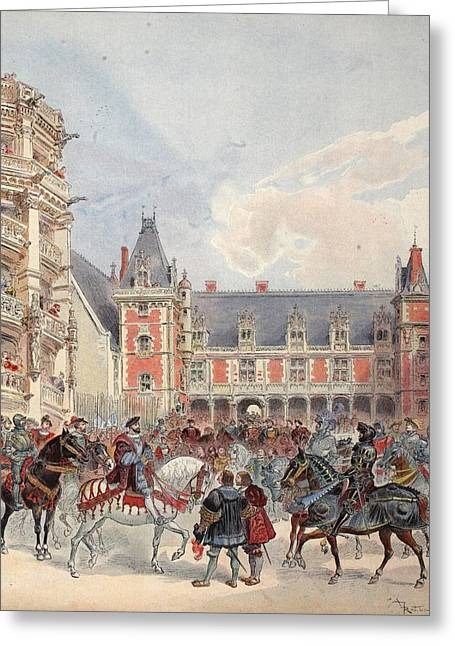 The Court In Chateaus Of The Loire Greeting Card by Albert Robida