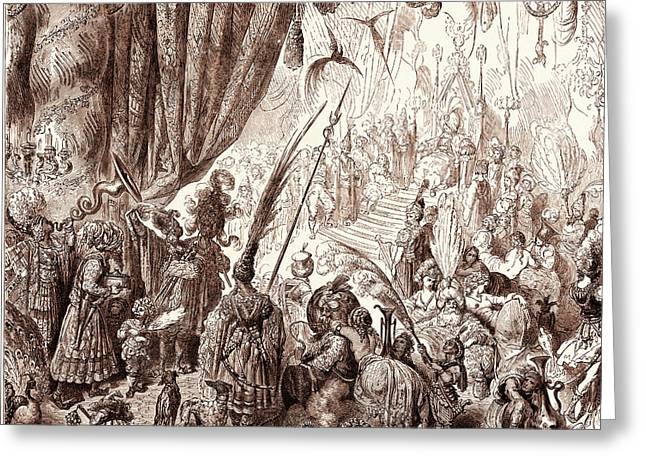 The Court Of The King Of Serendib, By Gustave Dore Greeting Card