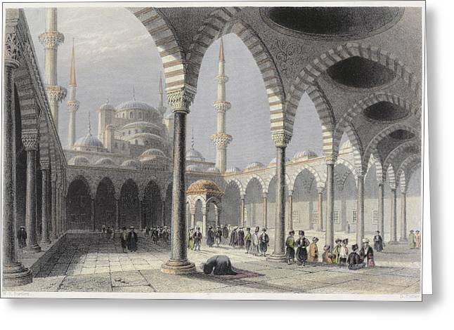 The Court Of The Mosque Of Sultan Greeting Card