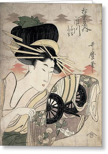 The Courtesan Ichikawa Of The Matsuba Establishment, Late 1790s Colour Woodcut Greeting Card by Kitagawa Utamaro