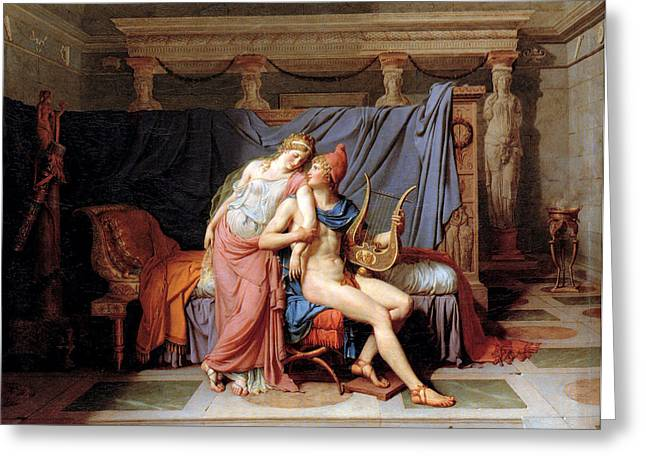 The Courtship Of Paris And Helen Greeting Card by Jacques Louis David