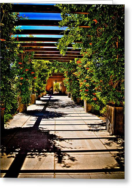 The Courtyard Walkway At Hotel Albuquerque Greeting Card by David Patterson