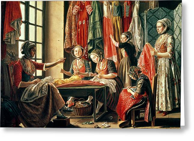 The Couturiers Workshop, Arles, 1760 Oil On Canvas Greeting Card by Antoine Raspal