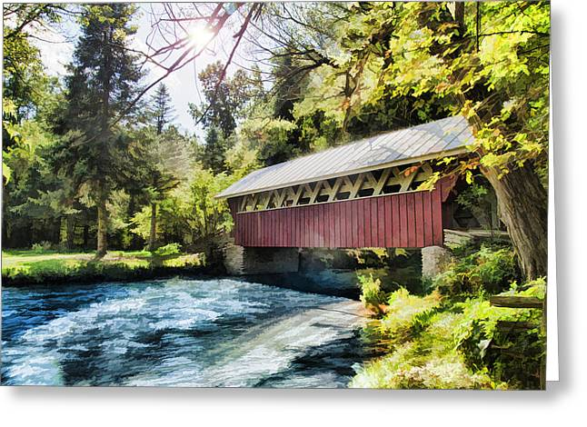 The Covered Bridge At The Red Mill Greeting Card