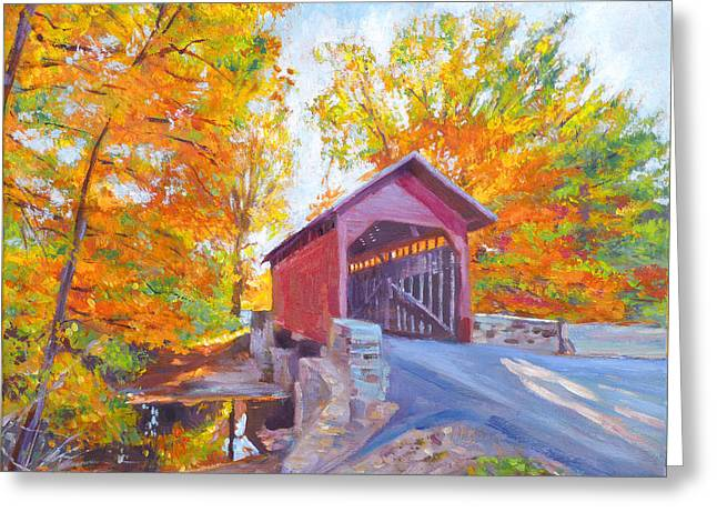 The Covered Bridge Greeting Card by David Lloyd Glover