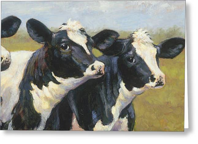 The Cow Girls Greeting Card by Tracie Thompson