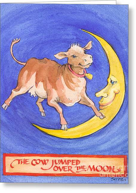Greeting Card featuring the painting The Cow Jumped Over The Moon by Lora Serra