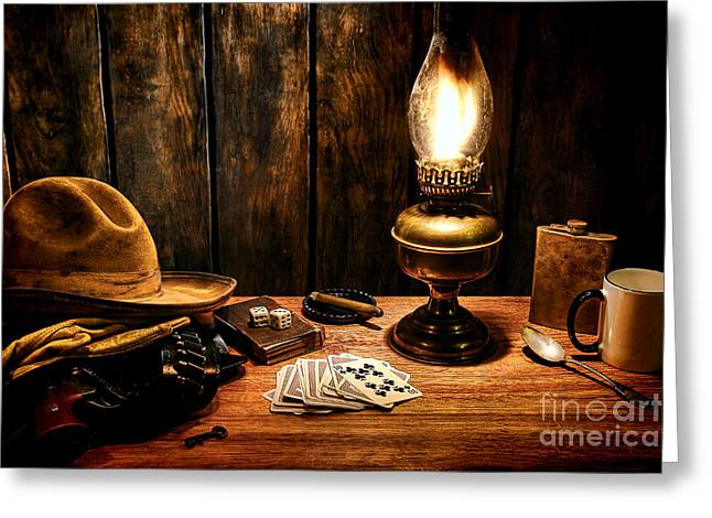 The Cowboy Nightstand Greeting Card by Olivier Le Queinec