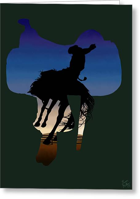 The Cowboy Way 3.. Long Day At The Office Greeting Card by Brien Miller